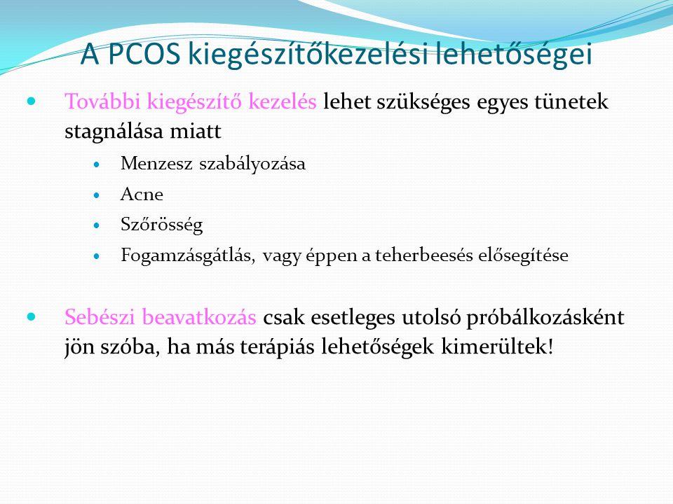 A PCOS kiegészítőkezelési lehetőségei További kiegészítő kezelés lehet szükséges egyes tünetek stagnálása miatt Menzesz szabályozása Acne Szőrösség Fo
