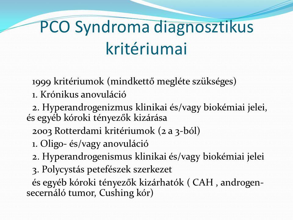 PCO Syndroma diagnosztikus kritériumai 1999 kritériumok (mindkettő megléte szükséges) 1. Krónikus anovuláció 2. Hyperandrogenizmus klinikai és/vagy bi