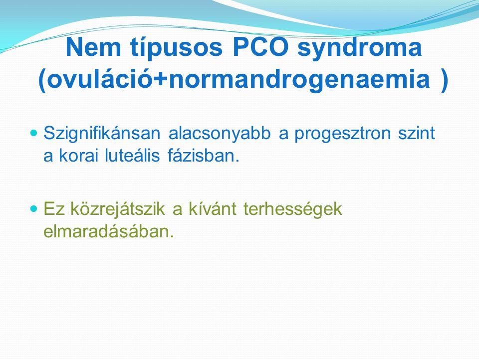Nem típusos PCO syndroma (ovuláció+normandrogenaemia ) Szignifikánsan alacsonyabb a progesztron szint a korai luteális fázisban. Ez közrejátszik a kív