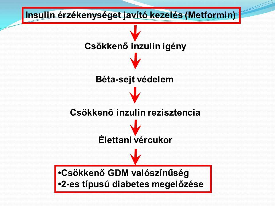 Insulin érzékenységet javító kezelés (Metformin) Csökkenő inzulin igény Béta-sejt védelem Csökkenő inzulin rezisztencia Élettani vércukor Csökkenő GDM