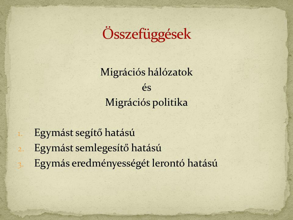 Migrációs hálózatok és Migrációs politika 1. Egymást segítő hatású 2.