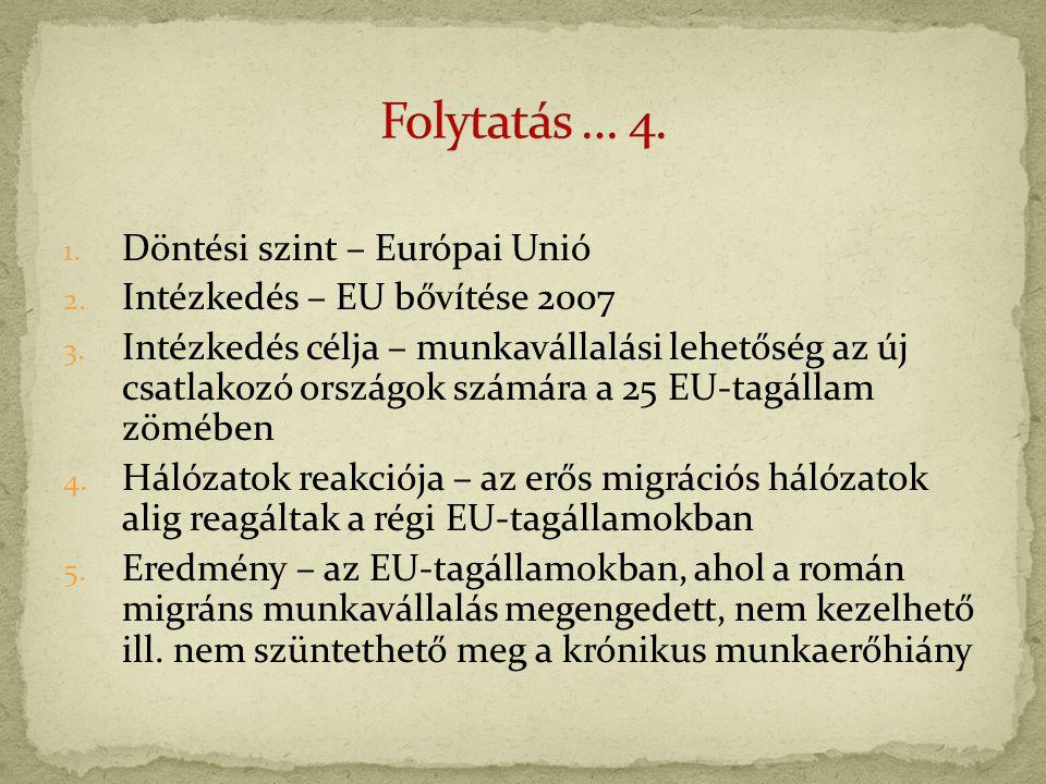 1. Döntési szint – Európai Unió 2. Intézkedés – EU bővítése 2007 3.
