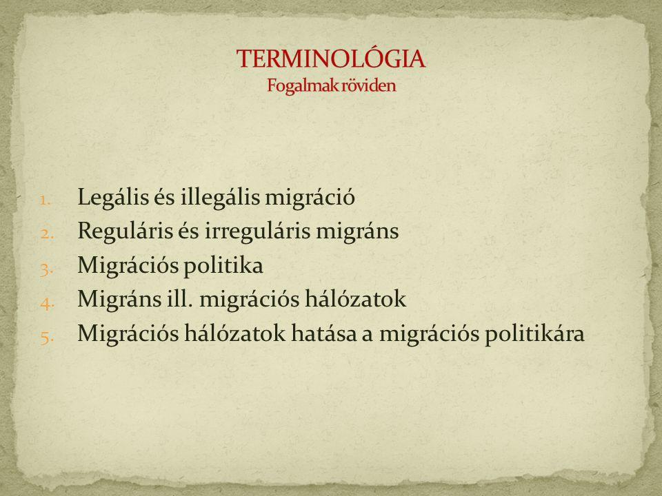1.Legális és illegális migráció 2. Reguláris és irreguláris migráns 3.