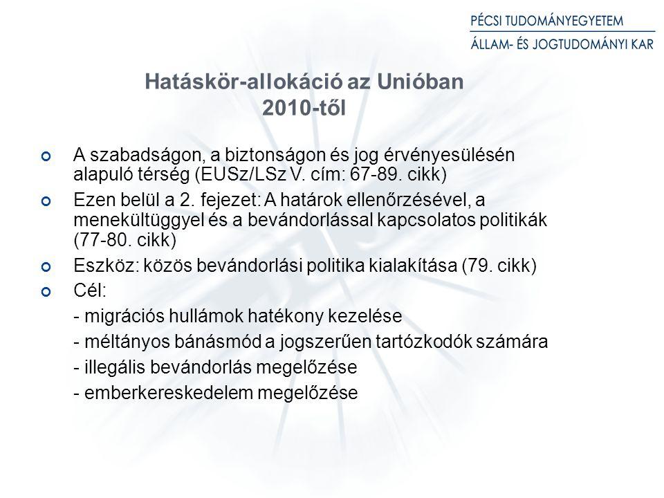 Hatáskör-allokáció az Unióban 2010-től A szabadságon, a biztonságon és jog érvényesülésén alapuló térség (EUSz/LSz V.