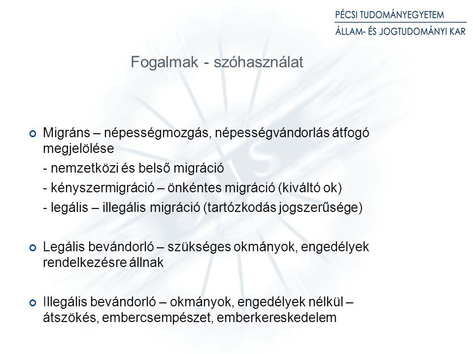 Fogalmak - szóhasználat Migráns – népességmozgás, népességvándorlás átfogó megjelölése - nemzetközi és belső migráció - kényszermigráció – önkéntes migráció (kiváltó ok) - legális – illegális migráció (tartózkodás jogszerűsége) Legális bevándorló – szükséges okmányok, engedélyek rendelkezésre állnak Illegális bevándorló – okmányok, engedélyek nélkül – átszökés, embercsempészet, emberkereskedelem