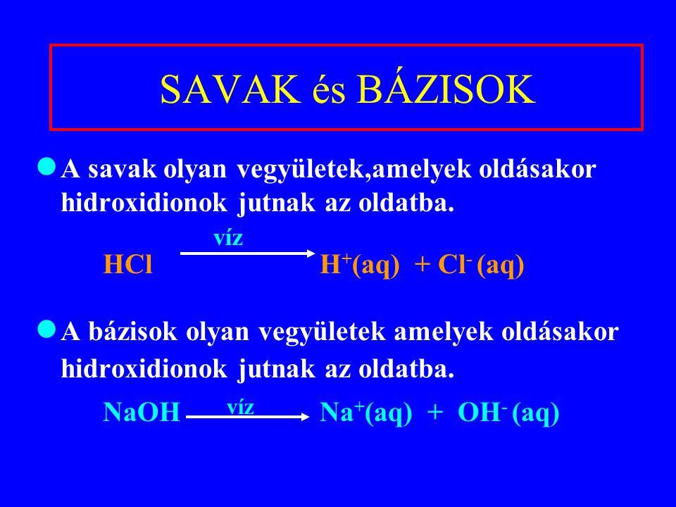 SAVAK és BÁZISOK A savak olyan vegyületek,amelyek oldásakor hidroxidionok jutnak az oldatba. víz HCl H + (aq) + Cl - (aq) A bázisok olyan vegyületek a