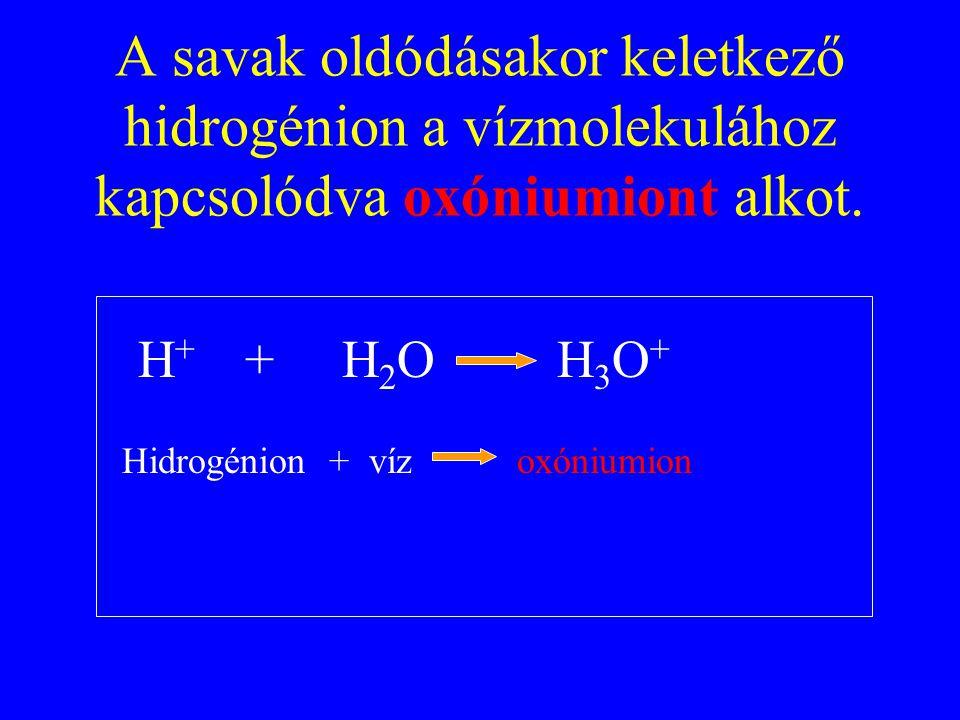 A savak oldódásakor keletkező hidrogénion a vízmolekulához kapcsolódva oxóniumiont alkot. H + + H 2 O H 3 O + Hidrogénion + víz oxóniumion