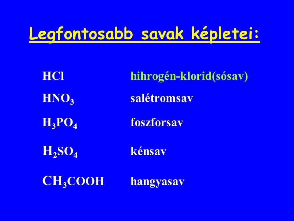Legfontosabb savak képletei: HCl hihrogén-klorid(sósav) HNO 3 salétromsav H 3 PO 4 foszforsav H 2 SO 4 kénsav CH 3 COOH hangyasav
