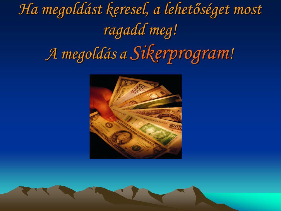 Ha megoldást keresel, a lehetőséget most ragadd meg! A megoldás a Sikerprogram !