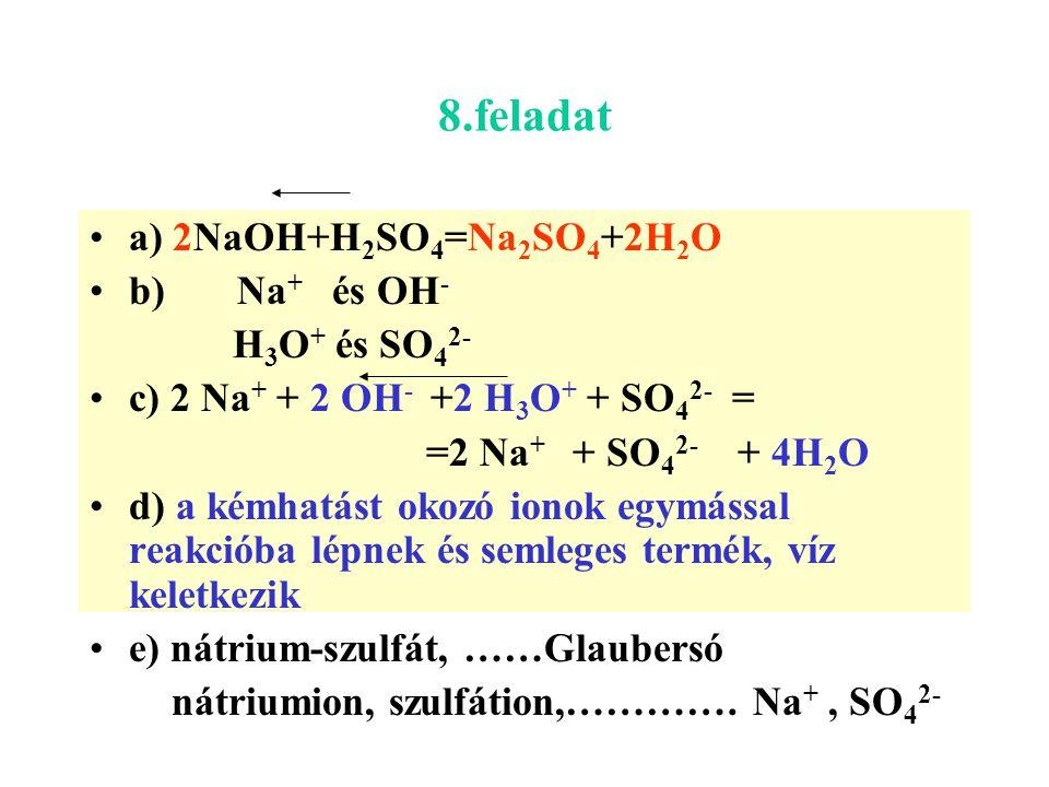 8.feladat a) 2NaOH+H 2 SO 4 =Na 2 SO 4 +2H 2 O b) Na + és OH - H3O+ H3O+ és SO 4 2- c) 2 Na + + 2 OH - +2 H3O+ H3O+ + SO 4 2- = =2 Na + + SO 4 2- + 4H