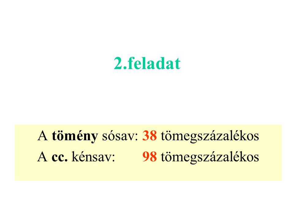 2.feladat A tömény sósav: 38 tömegszázalékos A cc. kénsav: 98 tömegszázalékos