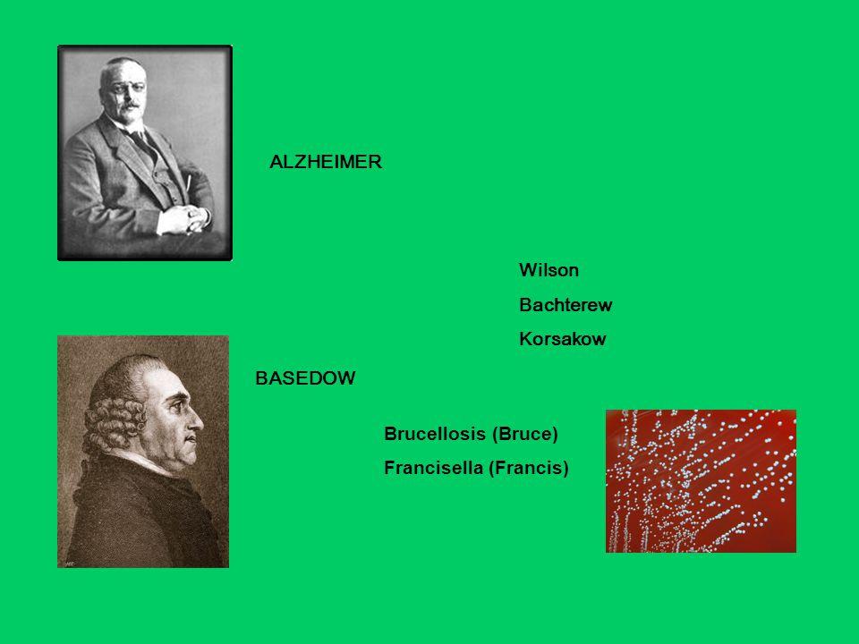 BASEDOW ALZHEIMER Wilson Bachterew Korsakow Brucellosis (Bruce) Francisella (Francis)