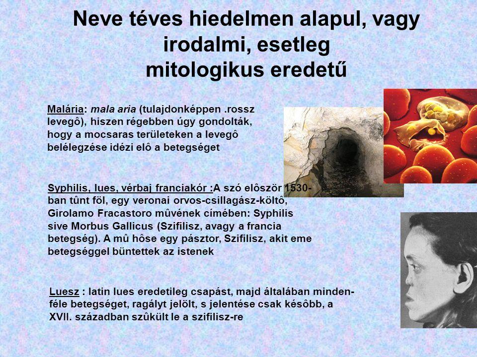 Neve téves hiedelmen alapul, vagy irodalmi, esetleg mitologikus eredetű Malária: mala aria (tulajdonképpen.rossz levegô), hiszen régebben úgy gondolták, hogy a mocsaras területeken a levegô belélegzése idézi elô a betegséget Syphilis, lues, vérbaj franciakór :A szó elôször 1530- ban tûnt föl, egy veronai orvos-csillagász-költô, Girolamo Fracastoro mûvének címében: Syphilis sive Morbus Gallicus (Szifilisz, avagy a francia betegség).