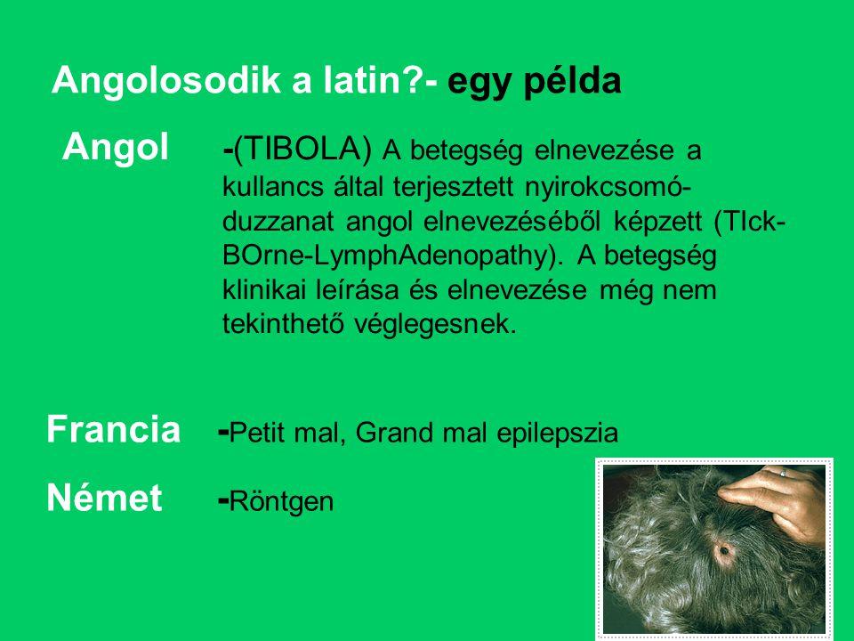 Angolosodik a latin?- egy példa Angol -(TIBOLA) A betegség elnevezése a kullancs által terjesztett nyirokcsomó- duzzanat angol elnevezéséből képzett (TIck- BOrne-LymphAdenopathy).