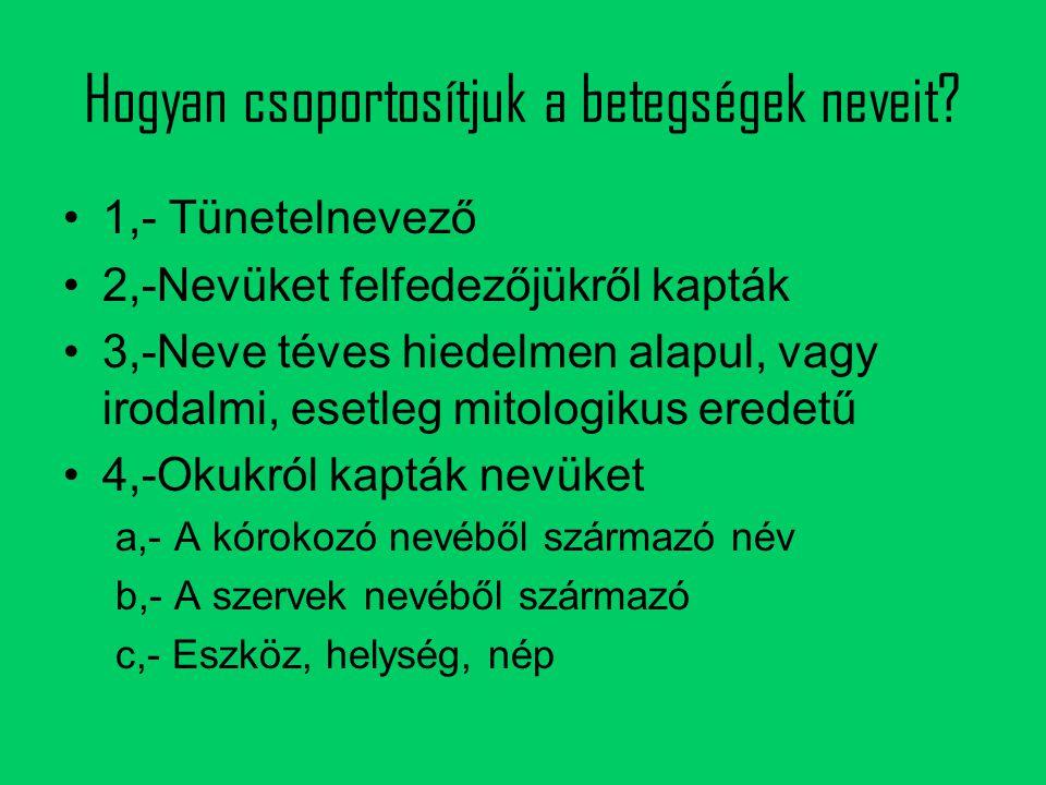 c, Eszköz, helység, nép Butulizmus: a betegség elnevezése a botulus görög szóból ered, jelentése kolbász.