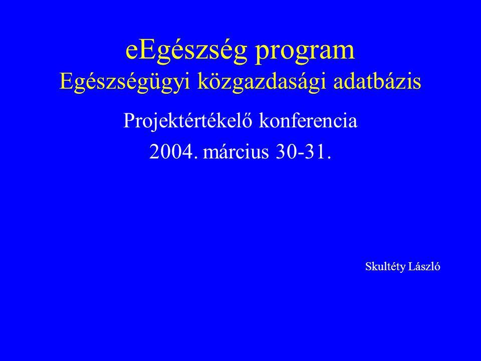 eEgészség program Egészségügyi közgazdasági adatbázis Projektértékelő konferencia 2004. március 30-31. Skultéty László