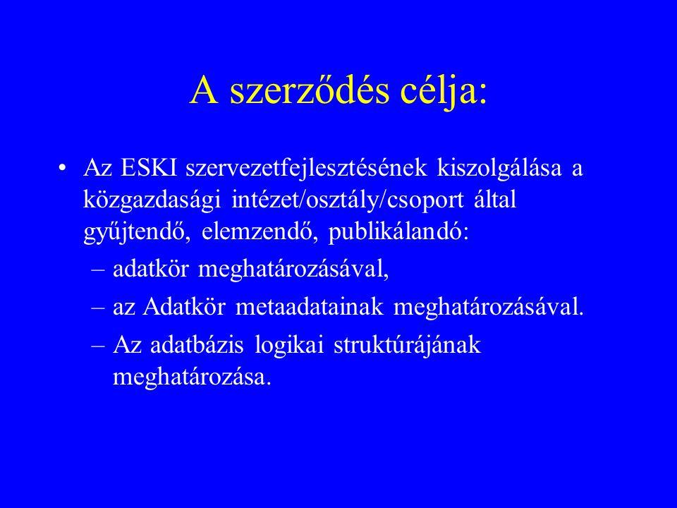 A szerződés célja: Az ESKI szervezetfejlesztésének kiszolgálása a közgazdasági intézet/osztály/csoport által gyűjtendő, elemzendő, publikálandó: –adat