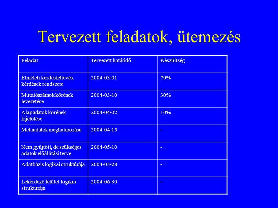 Tervezett feladatok, ütemezés FeladatTervezett határidőKészültség Elméleti kérdésfeltevés, kérdések rendszere 2004-03-0170% Mutatószámok körének levez
