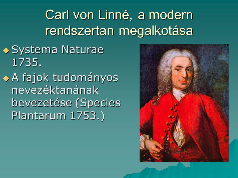 Carl von Linné, a modern rendszertan megalkotása  Systema Naturae 1735.  A fajok tudományos nevezéktanának bevezetése (Species Plantarum 1753.)