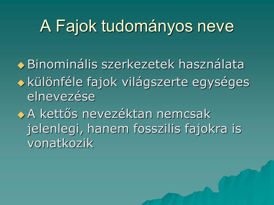 A Fajok tudományos neve  Binominális szerkezetek használata  különféle fajok világszerte egységes elnevezése  A kettős nevezéktan nemcsak jelenlegi