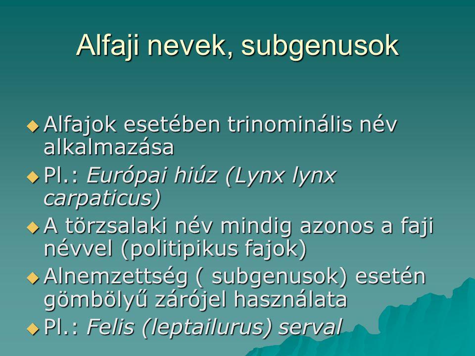 Alfaji nevek, subgenusok  Alfajok esetében trinominális név alkalmazása  Pl.: Európai hiúz (Lynx lynx carpaticus)  A törzsalaki név mindig azonos a