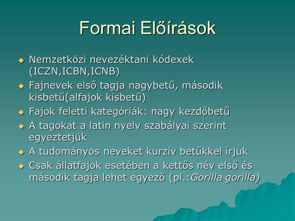 Formai Előírások  Nemzetközi nevezéktani kódexek (ICZN,ICBN,ICNB)  Fajnevek első tagja nagybetű, második kisbetű(alfajok kisbetű)  Fajok feletti ka
