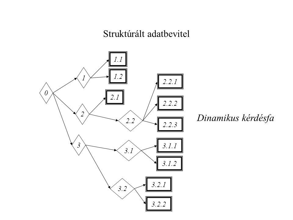 Struktúrált adatbevitel 0 1 3.1 3 2 2.2 3.2 1.1 1.2 2.1 2.2.1 2.2.2 3.1.1 3.1.2 2.2.3 3.2.2 3.2.1 Dinamikus kérdésfa