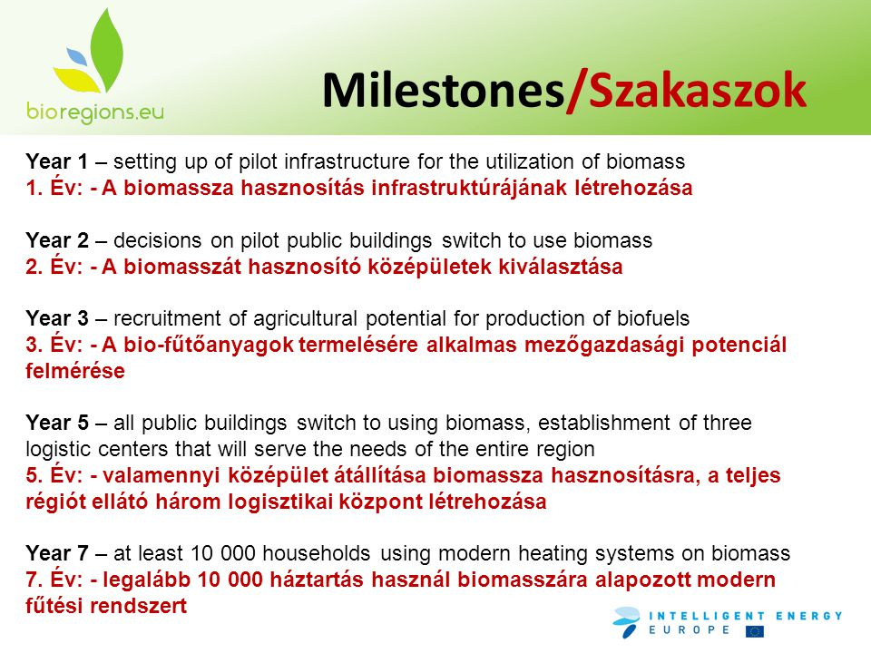 Milestones/Szakaszok Year 1 – setting up of pilot infrastructure for the utilization of biomass 1.