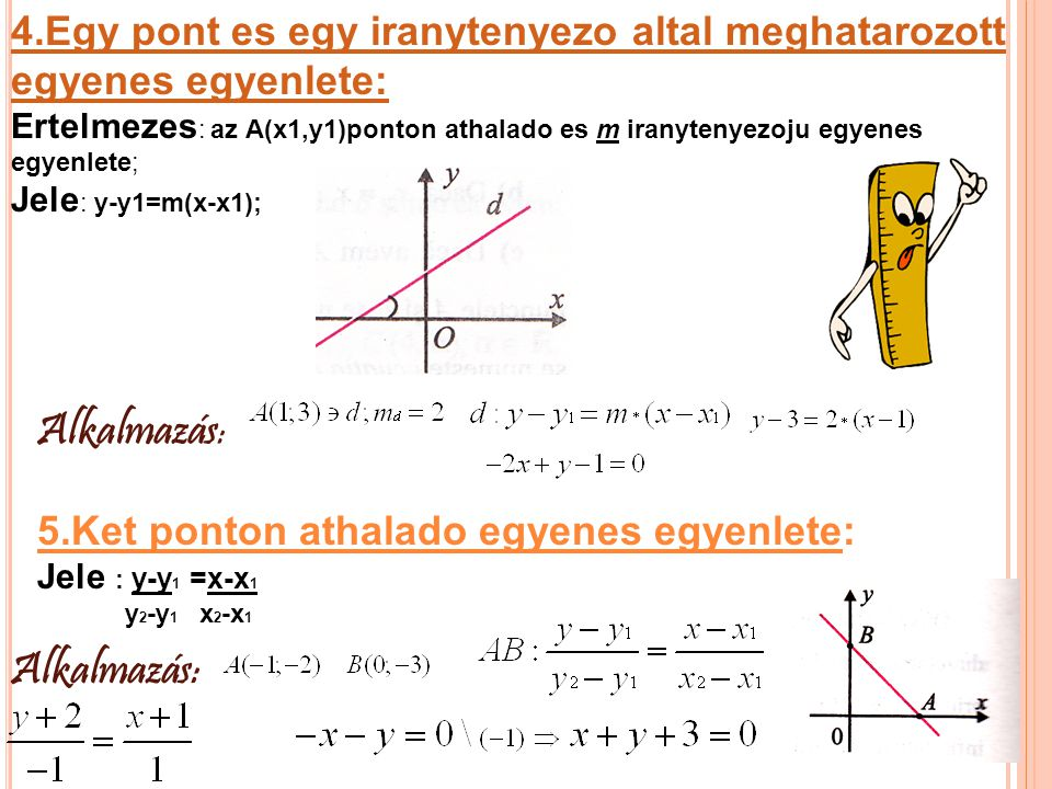 6).Egyenes egyenletenek tengelymetszetes alakja : Jele : x+y-1=0 a b 7).Egyenes egyenletenek altalanos alakja: Jele :m d 1 =-a b Alkalmazás: