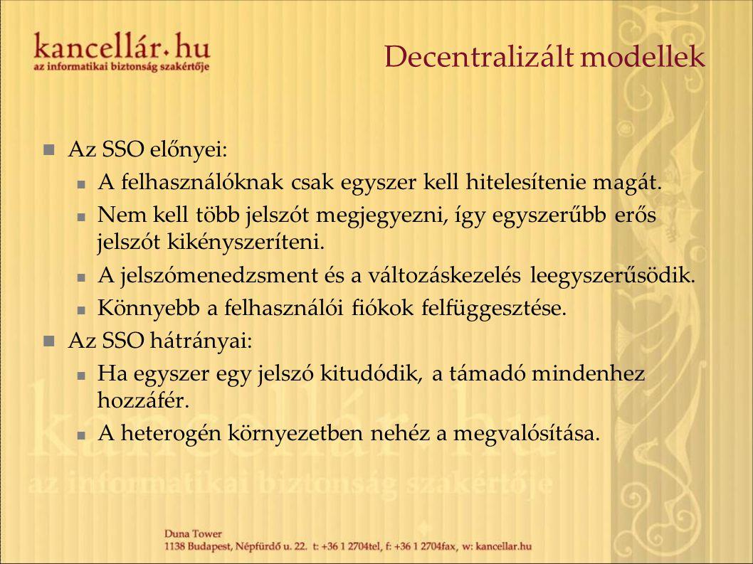 Decentralizált modellek Az SSO előnyei: A felhasználóknak csak egyszer kell hitelesítenie magát. Nem kell több jelszót megjegyezni, így egyszerűbb erő