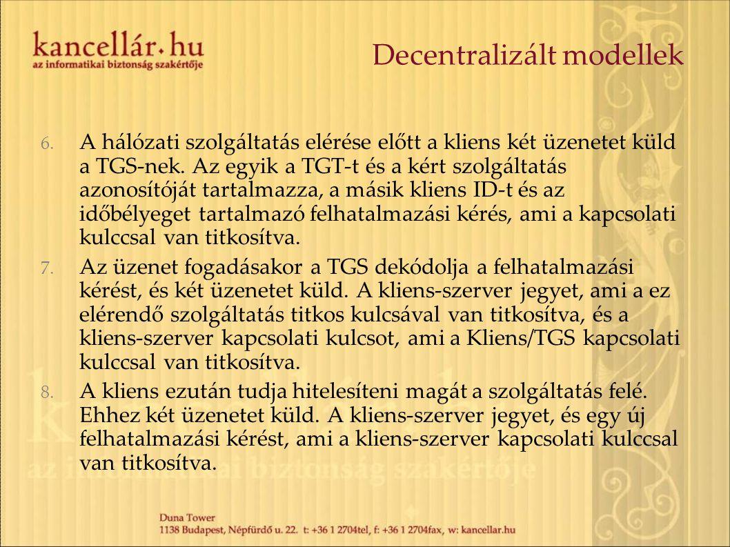 Decentralizált modellek 6. A hálózati szolgáltatás elérése előtt a kliens két üzenetet küld a TGS-nek. Az egyik a TGT-t és a kért szolgáltatás azonosí