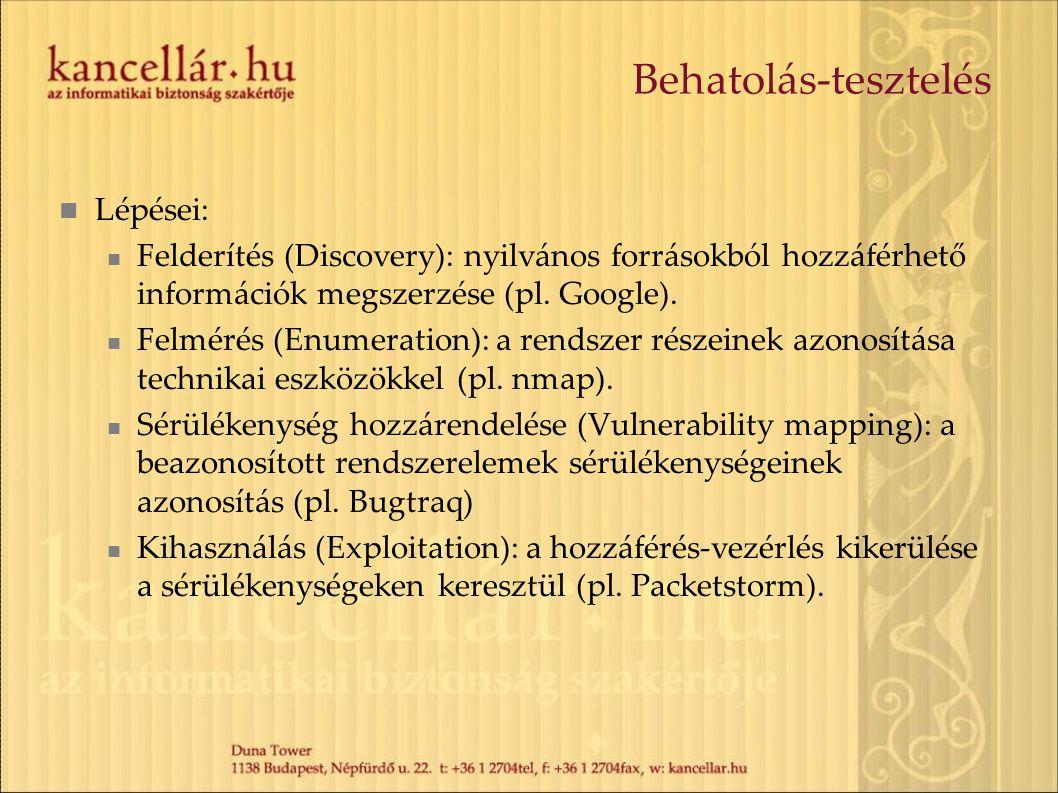 Behatolás-tesztelés Lépései: Felderítés (Discovery): nyilvános forrásokból hozzáférhető információk megszerzése (pl. Google). Felmérés (Enumeration):