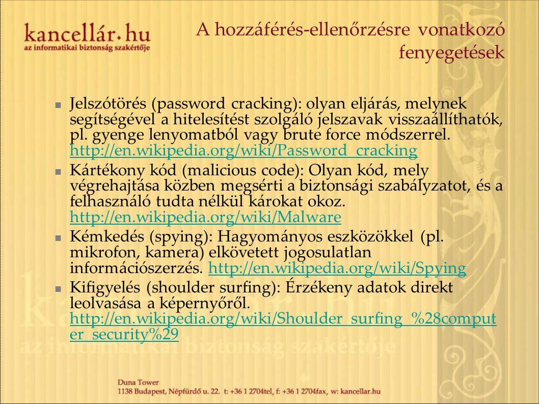 A hozzáférés-ellenőrzésre vonatkozó fenyegetések Jelszótörés (password cracking): olyan eljárás, melynek segítségével a hitelesítést szolgáló jelszava