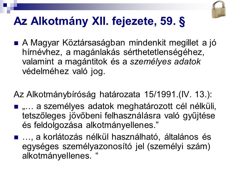 Bóta Laca Az Alkotmány XII. fejezete, 59. § A Magyar Köztársaságban mindenkit megillet a jó hírnévhez, a magánlakás sérthetetlenségéhez, valamint a ma