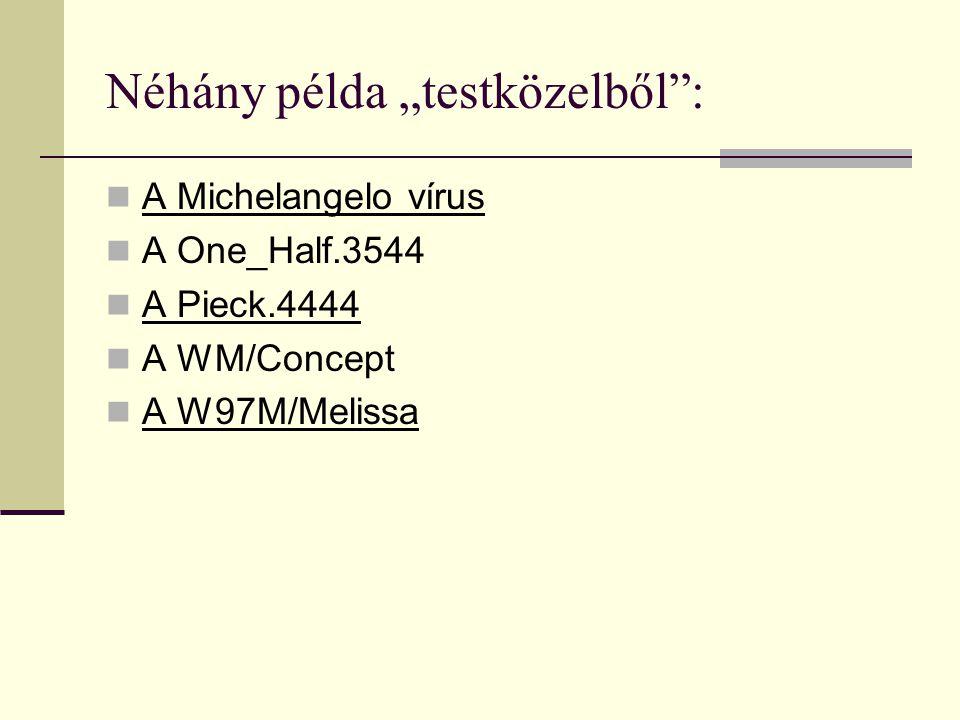 """Néhány példa """"testközelből"""": A Michelangelo vírus A One_Half.3544 A Pieck.4444 A WM/Concept A W97M/Melissa"""