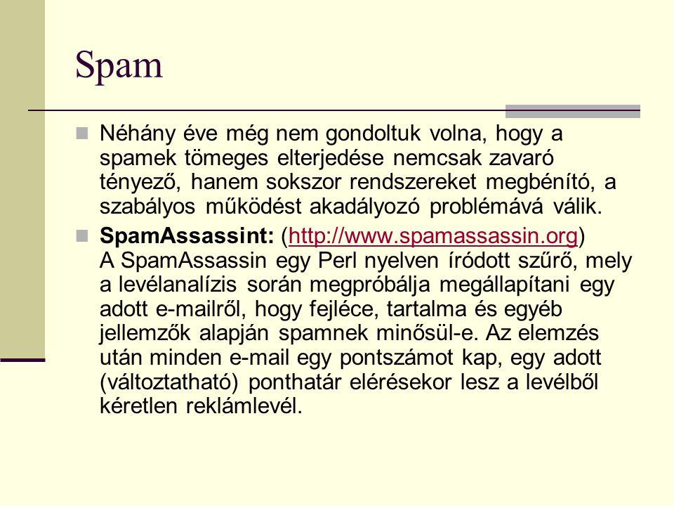 Spam Néhány éve még nem gondoltuk volna, hogy a spamek tömeges elterjedése nemcsak zavaró tényező, hanem sokszor rendszereket megbénító, a szabályos m