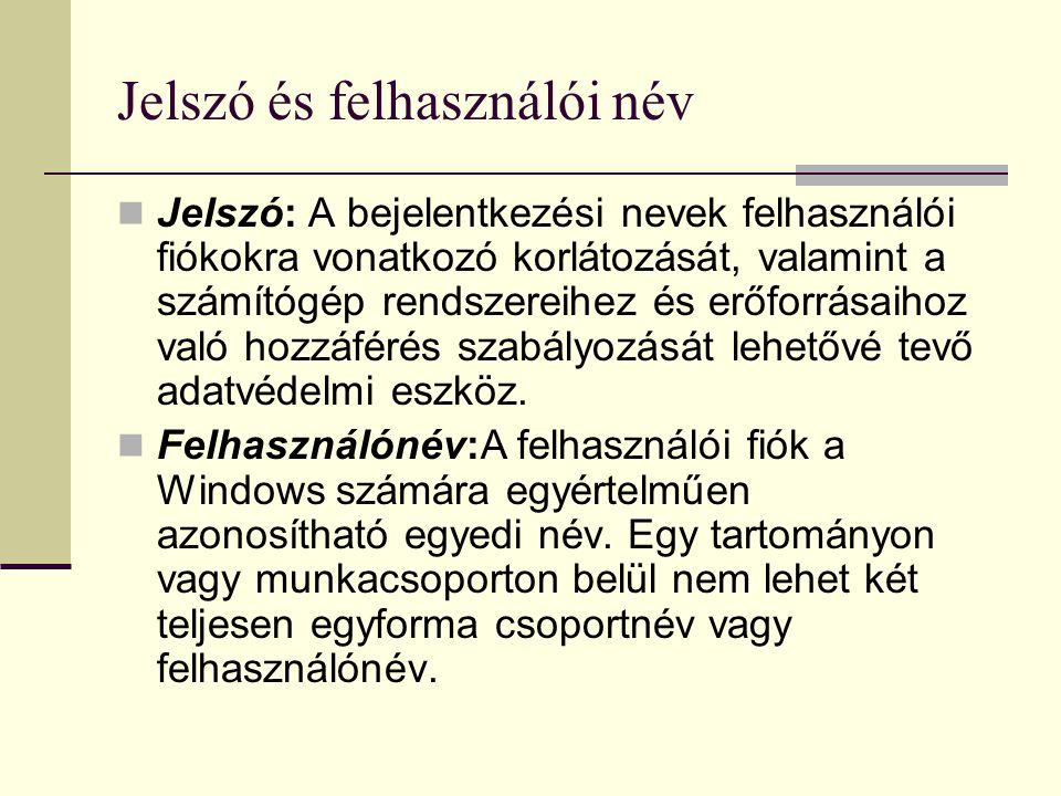 Jelszó és felhasználói név Jelszó: A bejelentkezési nevek felhasználói fiókokra vonatkozó korlátozását, valamint a számítógép rendszereihez és erőforr