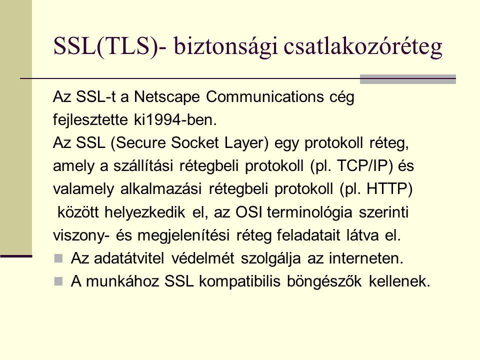 SSL(TLS)- biztonsági csatlakozóréteg Az SSL-t a Netscape Communications cég fejlesztette ki1994-ben. Az SSL (Secure Socket Layer) egy protokoll réteg,