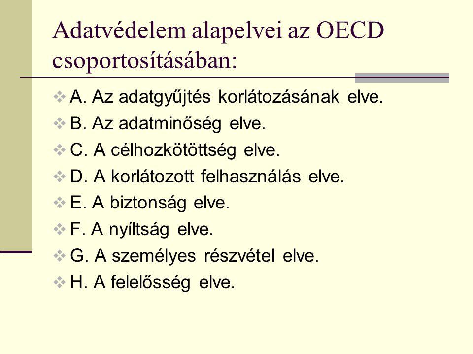 Adatvédelem alapelvei az OECD csoportosításában:  A. Az adatgyűjtés korlátozásának elve.  B. Az adatminőség elve.  C. A célhozkötöttség elve.  D.