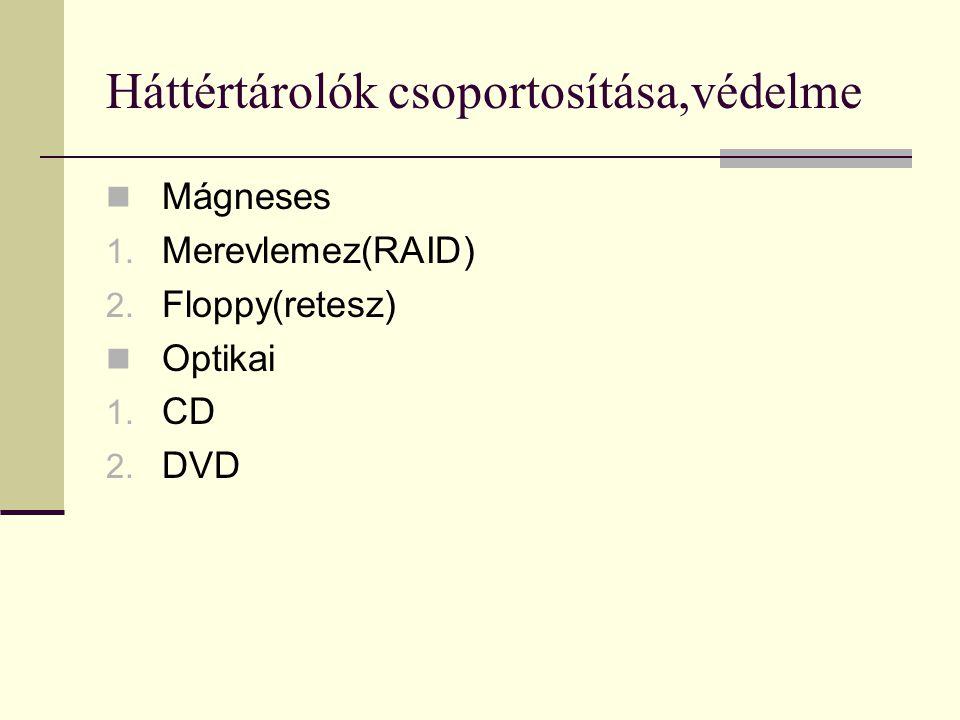 Háttértárolók csoportosítása,védelme Mágneses 1. Merevlemez(RAID) 2. Floppy(retesz) Optikai 1. CD 2. DVD