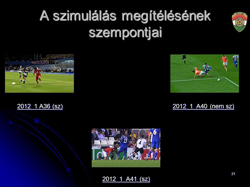 21 A szimulálás megítélésének szempontjai 2012_1 A36 (sz) 2012_1 A36 (sz) 2012_1_A40 (nem sz) 2012_1_A40 (nem sz) 2012_1_A41 (sz) 2012_1_A41 (sz)