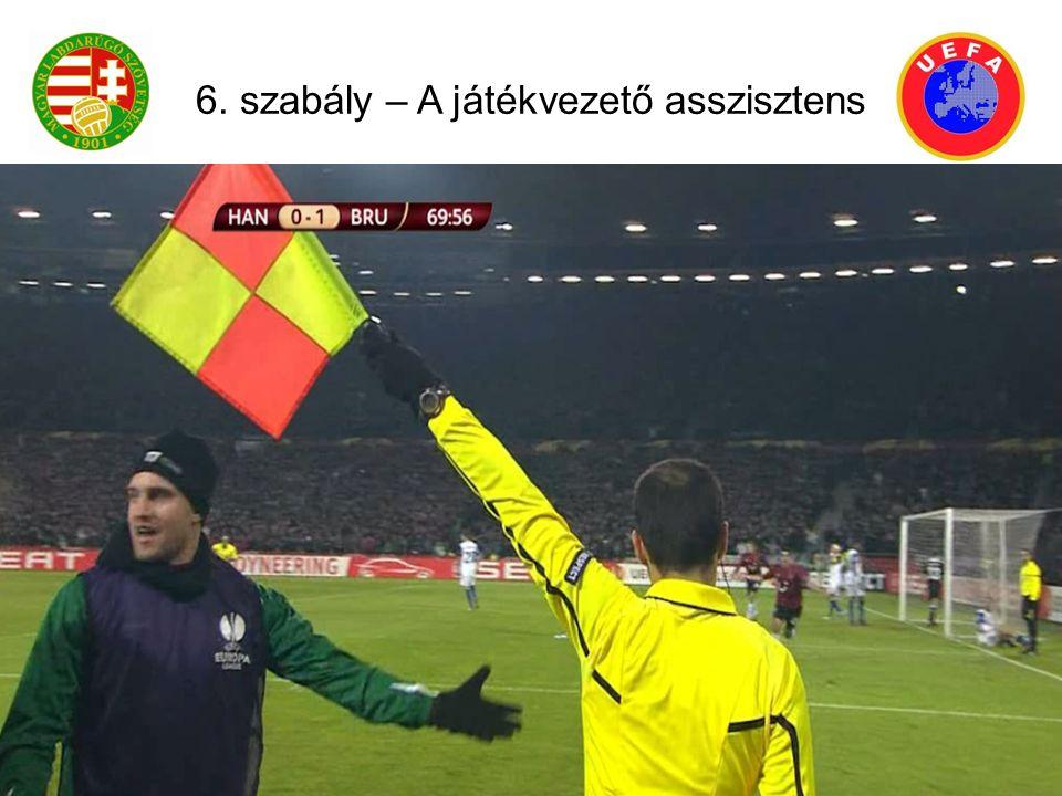 A játékvezető asszisztens helyezkedése: Kirúgás: (ha a labda a kapuelőtéren belül van): a jv.