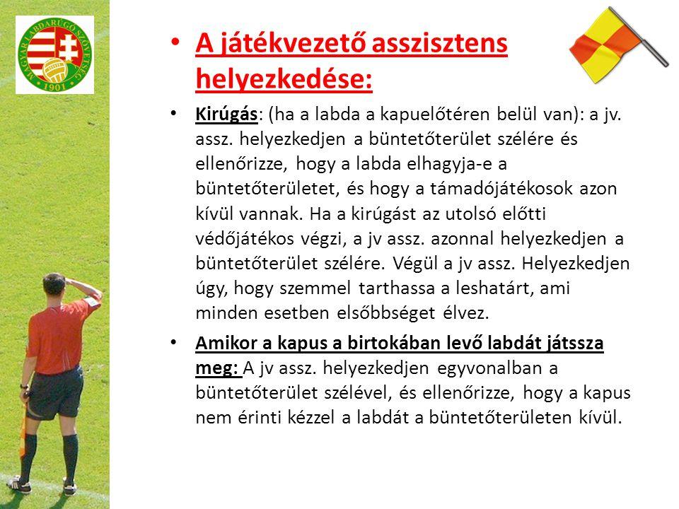 A játékvezető asszisztens helyezkedése: Kirúgás: (ha a labda a kapuelőtéren belül van): a jv. assz. helyezkedjen a büntetőterület szélére és ellenőriz