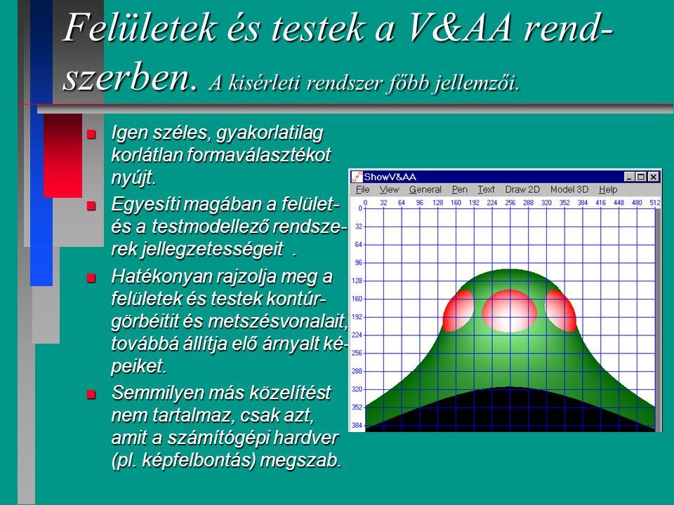 Felületek és testek a V&AA rend- szerben. Felületek és testek ábrázolása.