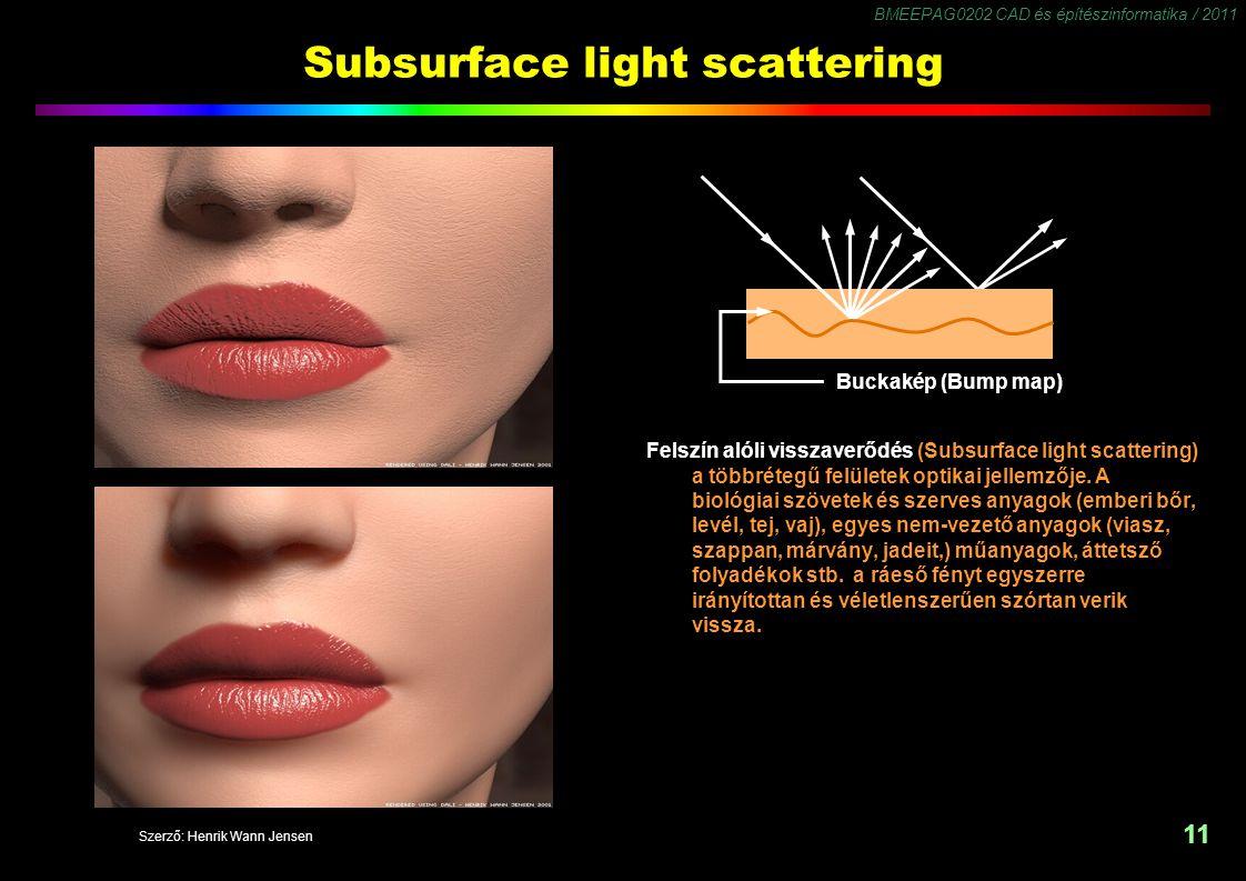BMEEPAG0202 CAD és építészinformatika / 2011 11 Subsurface light scattering Felszín alóli visszaverődés (Subsurface light scattering) a többrétegű felületek optikai jellemzője.