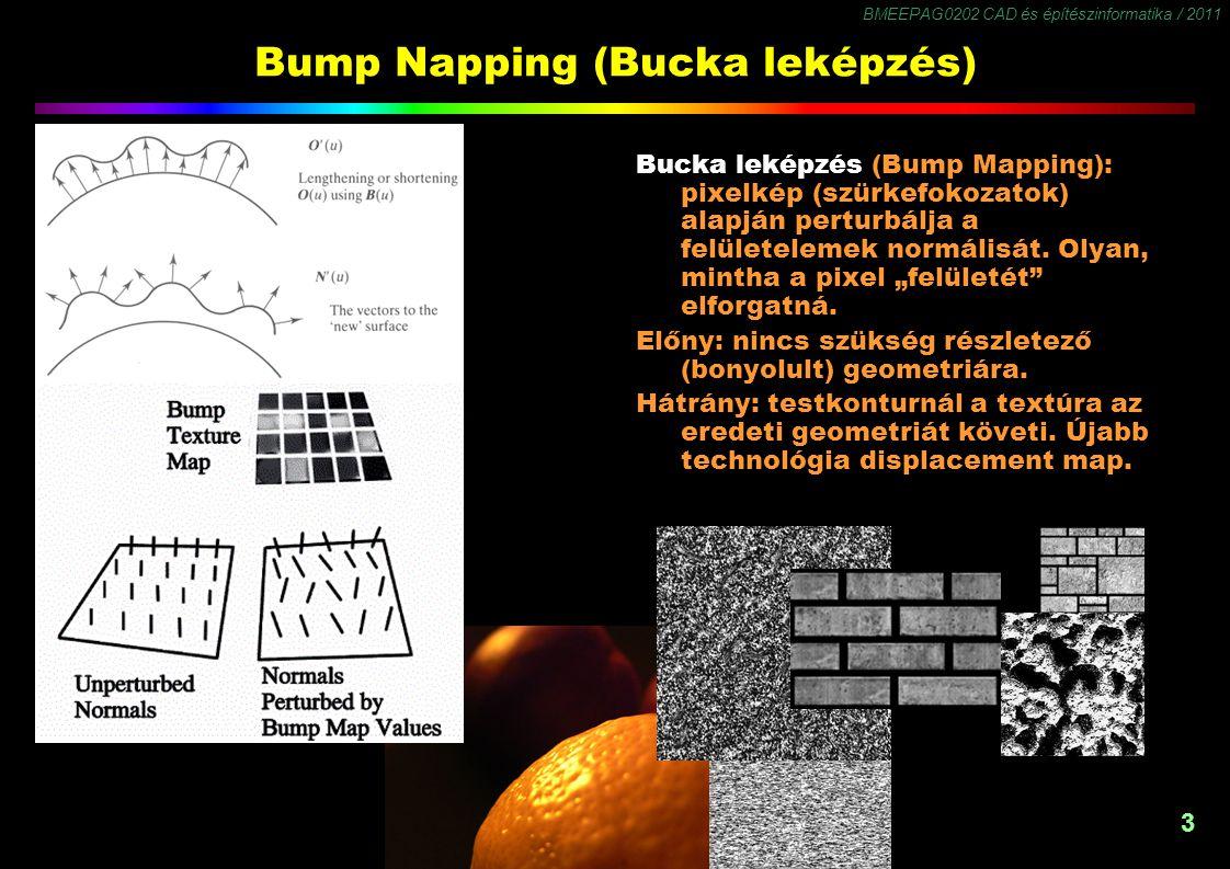BMEEPAG0202 CAD és építészinformatika / 2011 3 Bump Napping (Bucka leképzés) Bucka leképzés (Bump Mapping): pixelkép (szürkefokozatok) alapján perturbálja a felületelemek normálisát.