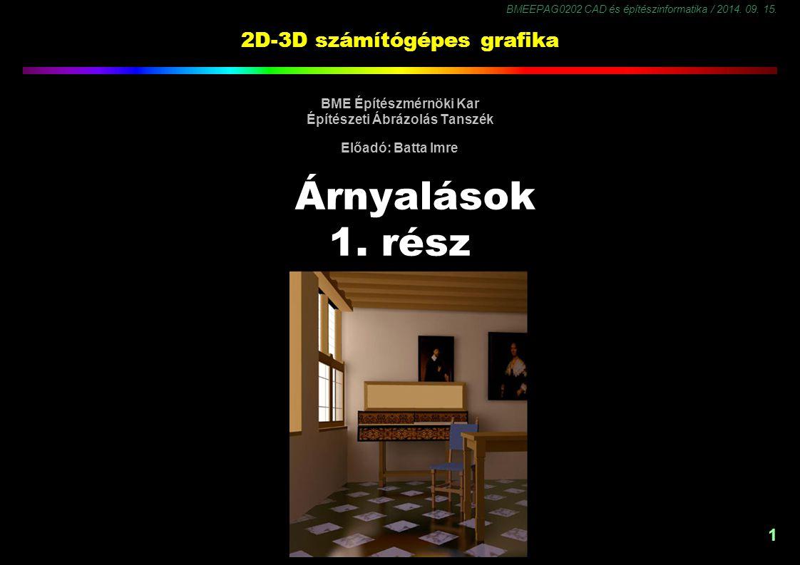 BMEEPAG0202 CAD és építészinformatika / 2014. 09. 15. 1 2D-3D számítógépes grafika BME Építészmérnöki Kar Építészeti Ábrázolás Tanszék Előadó: Batta I