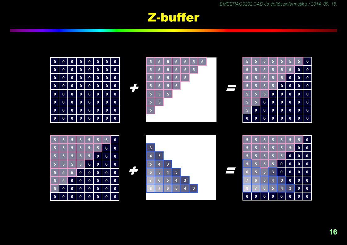 BMEEPAG0202 CAD és építészinformatika / 2014. 09. 15. 16 Z-buffer 00000000 00000000 00000000 00000000 00000000 00000000 00000000 00000000 0 00 000 000