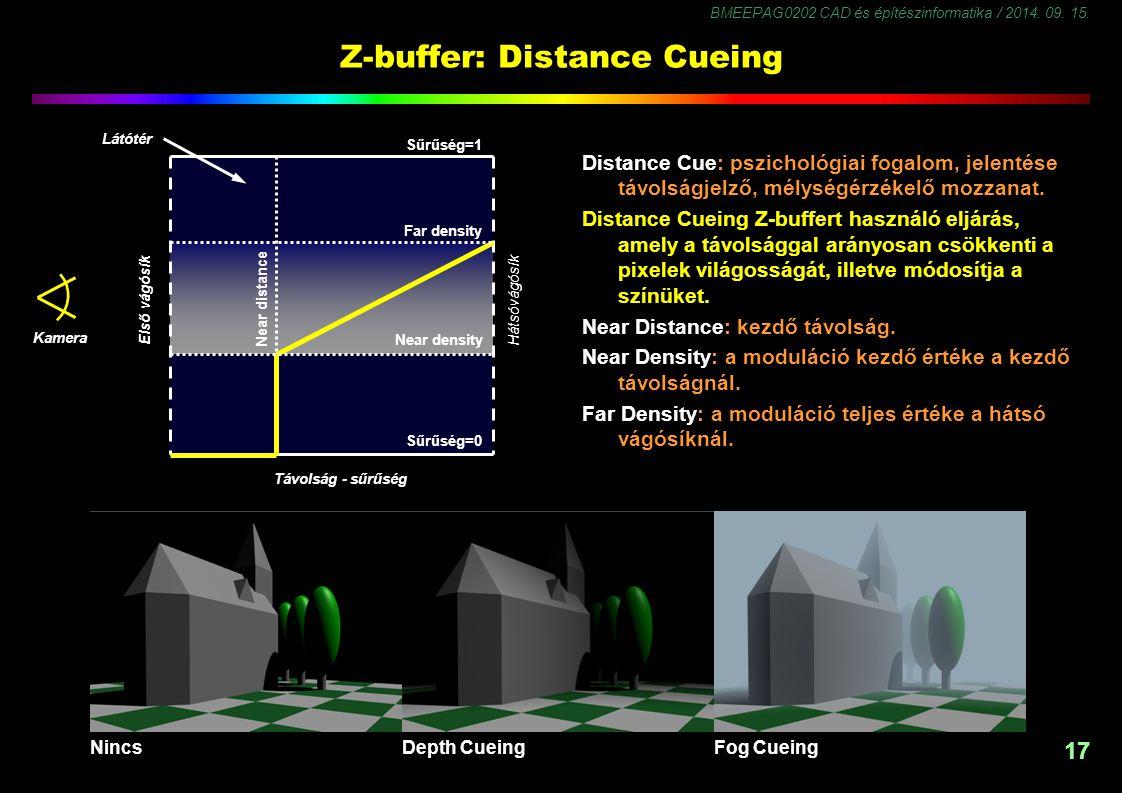 BMEEPAG0202 CAD és építészinformatika / 2014. 09. 15. 17 Z-buffer: Distance Cueing Distance Cue: pszichológiai fogalom, jelentése távolságjelző, mélys