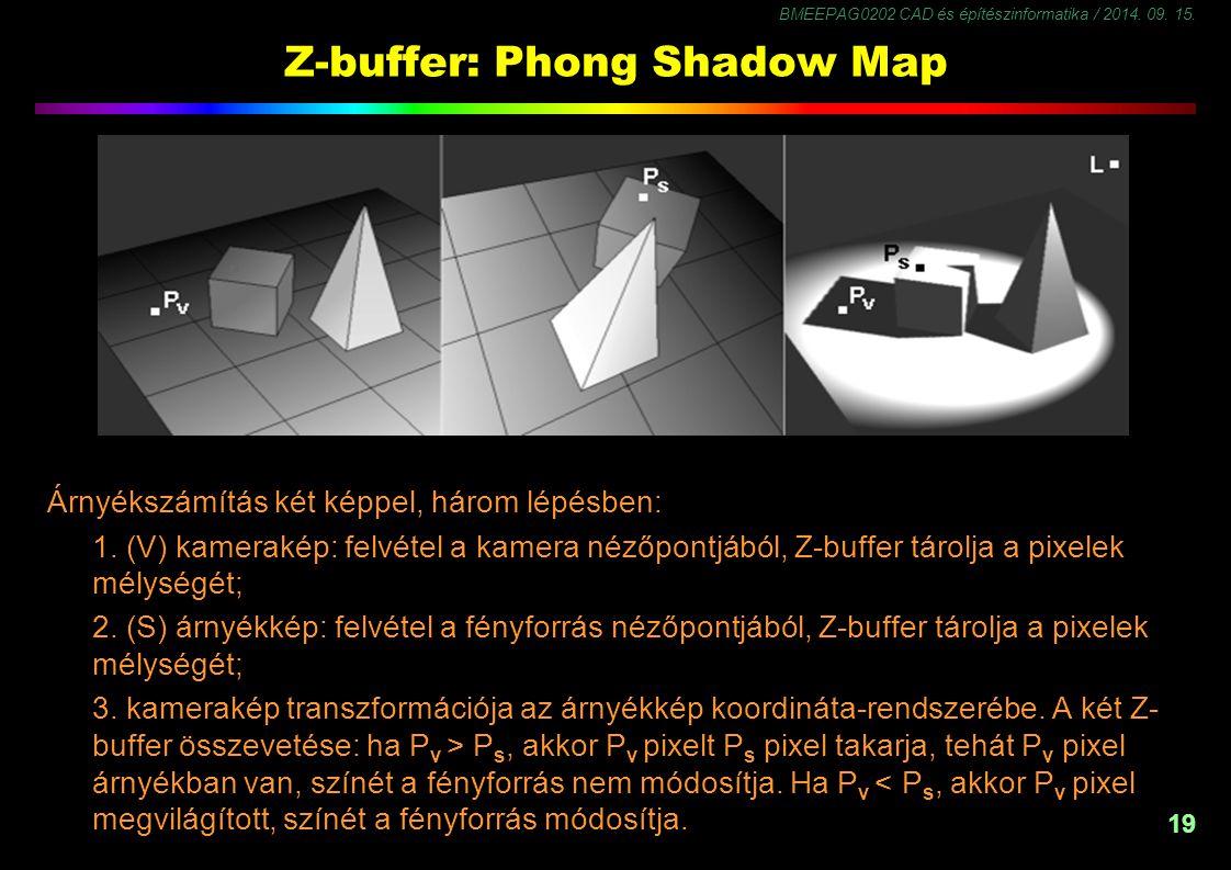 BMEEPAG0202 CAD és építészinformatika / 2014. 09. 15. 19 Z-buffer: Phong Shadow Map Árnyékszámítás két képpel, három lépésben: 1. (V) kamerakép: felvé